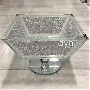 XXL Crush Diamond Fruit Bowl Silver Romany Square Crushed Bling Centrepiece UK