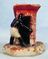 Vintage African American Figurine Man & Baby at Outhouse Bisque Japan Red AA