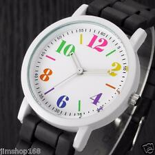 Mens Womens Jelly Gel Silicone Band Dial Quartz Analog Cute Sports Wrist Watch