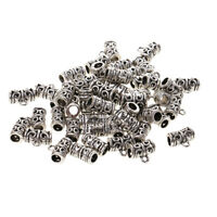 50 Antique Silver Spacer Bail Beads Charms Pendants for Jewelry Making Craft