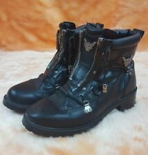 HARLEY DAVIDSON Sz 6 Black Zipper Motorcycle Boots