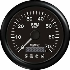BLACK TACHOMETER 6000 RPM & DIGITAL HOUR METER & 4 LED ALARM OUTBOARD INBOARD