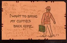 1906 I Want To Bring My Clothes Back Home comic greetings leather postcard