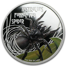 2012 Tuvalu 1 oz Proof Silver Deadly and Dangerous Coin - Funnel Web Spider