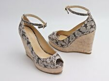 ace981ead8a Jimmy Choo Pacific Snake 120mm Peep-toe Cork Wedge Pump Sandal 38.5 8.5