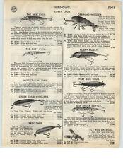 1926 PAPER AD Creek Chub Husky Musky New Feather Casting Minnow Bug Fishing Lure