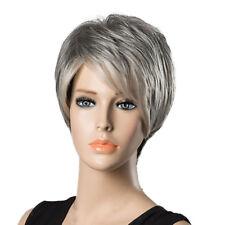Women Natural Human Hair Short Wig Gray White Blend Fluffy Full Head Wigs