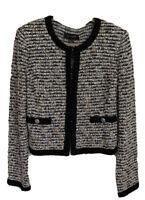 $1,495 St. John Women's Jacket Size 10 Black Tan Ribbon Knit Cardigan Coat