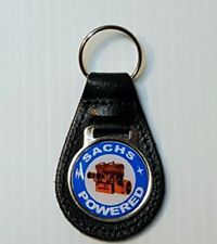 Reproduction Vintage Sachs Motor (2) Snowmobile Medallion Leather Keychain