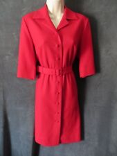 Vintage Vixen Red Soft Wool Blend 50's Rockabilly 3/4 Sleeve Belted Shirt Dress
