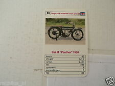 46-VINTAGE MOTORCYCLE B1 B&M PANTHER 1920  KWARTET KAART, QUARTETT CARD,