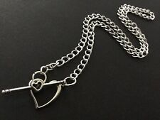 SILVER CHAIN Choker Necklace With Love Heart Toggle Fastener Boho Bijoux