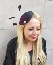 Black Purple Gold Silver Statement Feather Fascinator Hair Clip Hat Races 2441