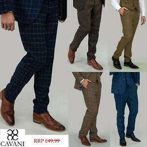 Mens Cavani Tweed Check Casual Formal Fitted Quality Wedding Trousers RRP £49.99