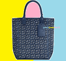 Tory Burch Large Matte Navy Blue Lace Perforated Tote Bag With Tags