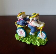 Vtg Bunnies on Bike Collectible Figurine-Grt Detail-Cloverhill Collections-Mint!