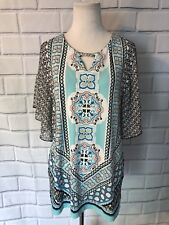NWT JM Collection Women's Tunic Top Sz M Embellished Short Sleeve Keyhole New