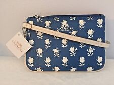 COACH Badlands Blue Floral Small Wristlet ~Printed Pebble-Embossed Canvas F53152