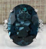 25.32 Carat Natural Topaz 14K White Gold Diamond Ring