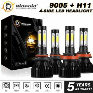 9005+H11 6000K 672000LM Combo 4-Side CREE LED Headlight Kits High Low Lamp Bulb