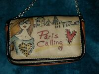 "Brighton Fashionista Leather crossbody bag "" Paris Calling"" Camel/Black Multicol"