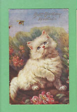 Adorable WHITE FLUFFY KITTEN cat & BEES in a GARDEN w/ pink FLOWERS  Art. Sign.