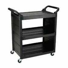 More details for rubbermaid service utility cart in black polypropylene - mark resistant castors