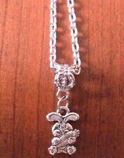 collier argenté 46 cm avec pendentif lapin avec carotte 15x11 mm
