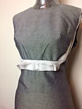 VTG 1960s Gray & White Cotton Linen Blend Casual Cocktail Dress 👗 Sm