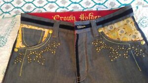 Crown Holder Denim Jeans Embroidery HipHop Pants 34 Button Fly Excellent!!