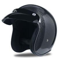 Real Carbon Fiber Motorcycle Helmet Open Face Lightweight Unisex Moto Helmet