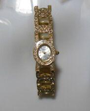 Gruen Ladies Gold-tone Rhinestone Stretch Bracelet Watch