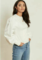 Influence Jumper Top Size UK 8 & 12 Ribbed With Cotton Volume Sleeves Ivory NEW