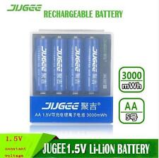 AA 1.5v lifepo4 batteries JUGEE 4X 3000mWh li-ION rechargeable battery+Charger