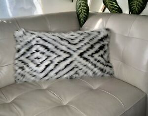 Decorative Faux Fur White and Black Throw Pillow Covers