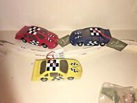 VINTAGE~ Set of 3 NEW RACE CARS CHRISTMAS ORNAMENTS~NWT