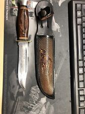 Kabar Fixed Blade Bowie Knife With Wooden Handle & Custom Leather Sheath