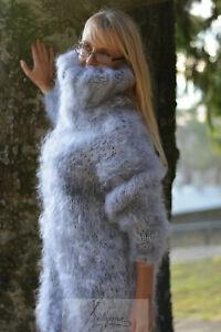 DUKYANA Handknit Mohair Sweater Huge Turtleneck Jumper Handmade Pullover Fuzzy