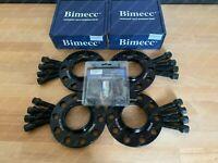 2x 15mm + 2x 20mm Black Alloy Wheel Spacers Bolts & Locks Audi A4 S4 RS4 B8 (T)