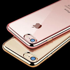 Luxury Chrome Soft Gel Crystal Clear Case Cover for Apple iPhone 6 6S 7 8 Plus X