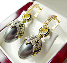 FASCINATING EARRINGS HANDMADE OF STERLING SILVER 925 WITH GRAY PEARL