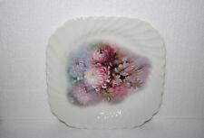 Johnson Brothers England White Swirl Ironstone Plate Pink Purple Chrysanthemums