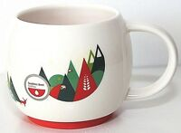 Seattle's Best Coffee Mug Cup Half Full Trees Christmas Red Green Ceramic EUC