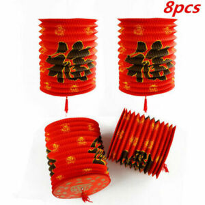8pcs Chinese New Year Fu Luck Hanging Paper Lanterns Celebration Party Decor