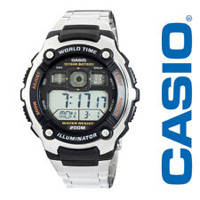 Casio AE2000WD-1A Men's Stainless Steel Multi Alarm World Time Sports Watch