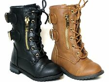 Baby Toddler And Youth Girl's Leather PU Military Boots Lace Up Boots  Black-Tan