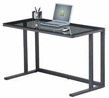 Alphason Office Ambient Smoked Black Glass Modern Desk Workstation AW53385