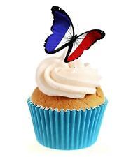 Novelty French Butterfly 12 Edible Stand Up wafer paper cake toppers birthday