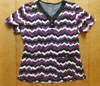 NRG by Barco Women's Scrub Top / Size Medium / Purple Black