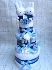 3 Tier Twins Blue Miffy Nappy Cake Baby Shower Gift - FREE POSTAGE!!